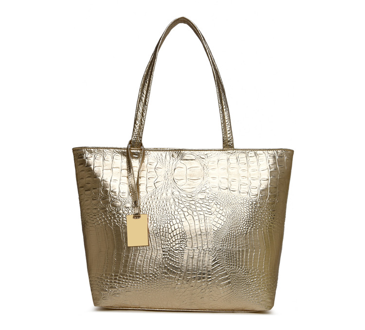 Brand Fashion Casual Women Shoulder Bags Silver Gold Black Crocodile Handbag PU Leather Female Big Tote Bag Ladies Hand Bags Sac 7