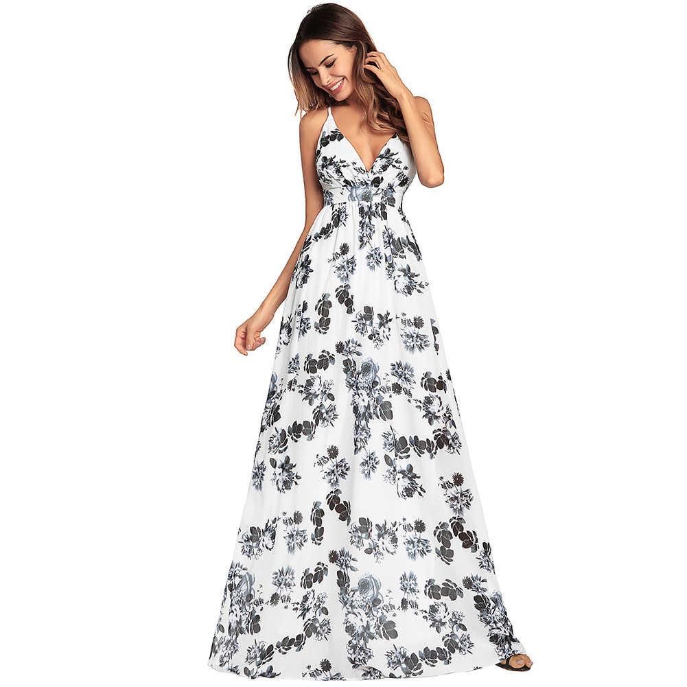 3f61a8ce278 Vestidos 2019 Sexy Women Deep V-Neck Long Beach Sundress Summer Ladies Boho  Floral Printed