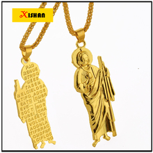 Religious Jewelry Gold color Virgin Mary Cross scriptures Medal Pendant Necklace Fashion Hip Hop Necklace for Men and Women
