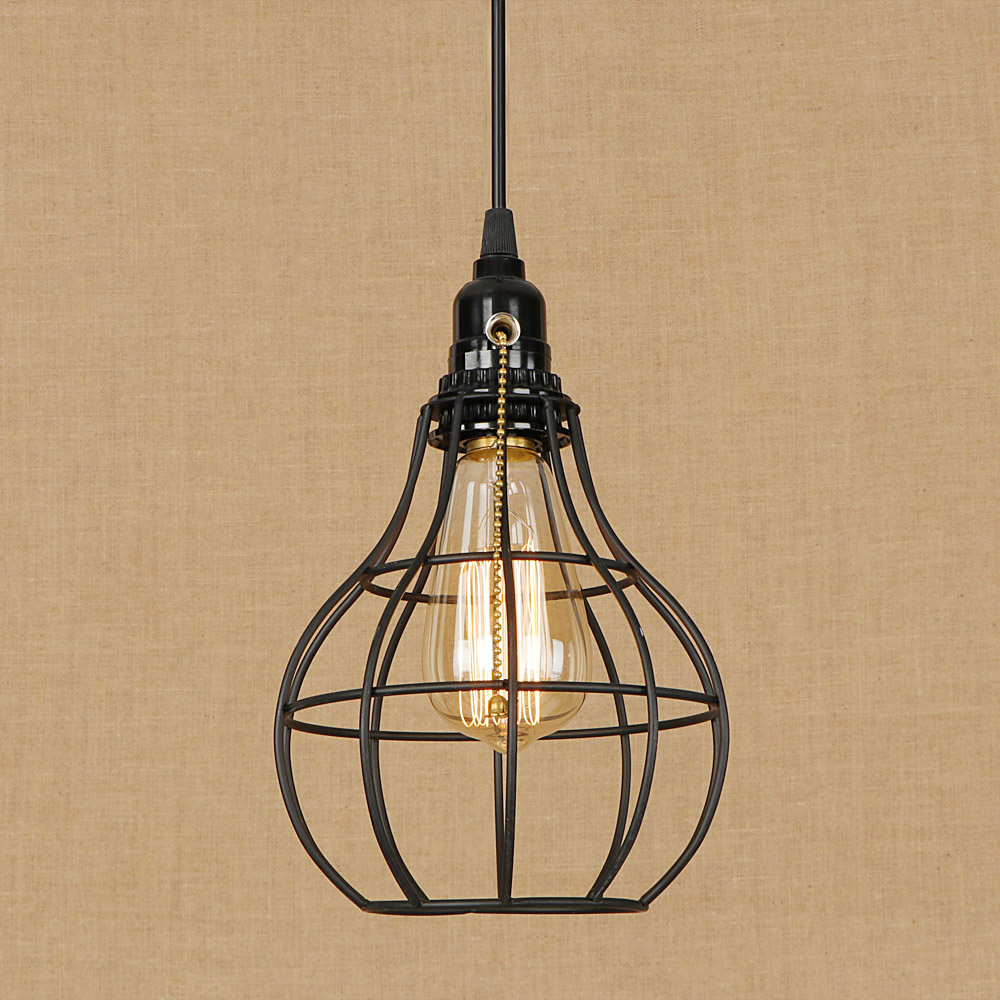 Loft American country iron cage style pendant lamp adjust cord E27 LED hang lamp retro pendant lights Zipper switch for home <br>