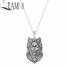 QIAMNI Min 1pc Handmade Cute Yorkshire Terrier Face Puppy Pet Lovers Animal Unique Necklaces & Pendants Gift for Women and Girls