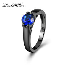 Double Fair Brand Blue Crystal Round Shape Rings Black Gold Color Fashion Brand Party Jewelry Simple Ring For Women Gift DFR621