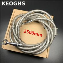 Keoghs 2500mm Motorcycle Brake Hose/pipe/line/cable/tube Steel Braid 28 Degree 10mm Banjo Bolt For Honda Yamaha Kawasaki Suzuki(China)
