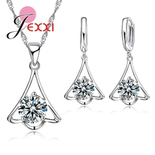 PATICO  New Designed 925 Sterling Zircon Necklace Unique Shape For Women/Girls Colar Earing Wedding Jewelry Set