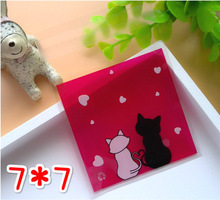 100pcs Lovely Cat Party Cookies Biscuits Bags Self-adhesive Wedding Cellophane Bag Cake Candy Gift Bags(China)