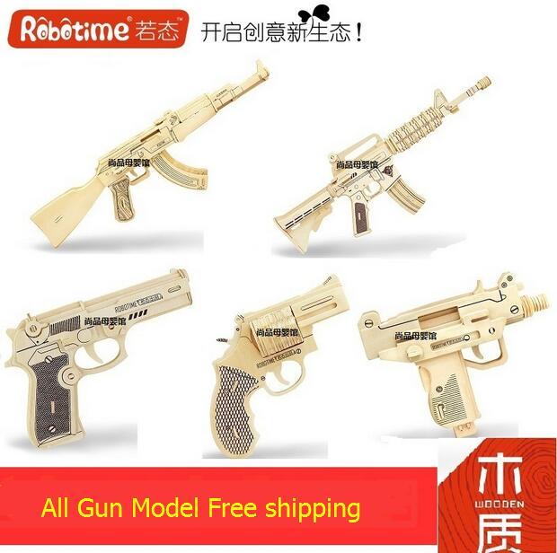 Robotime wooden 3D model toy gift puzzle submachine gun AK47 M4A1 Uzi M92F 1pc