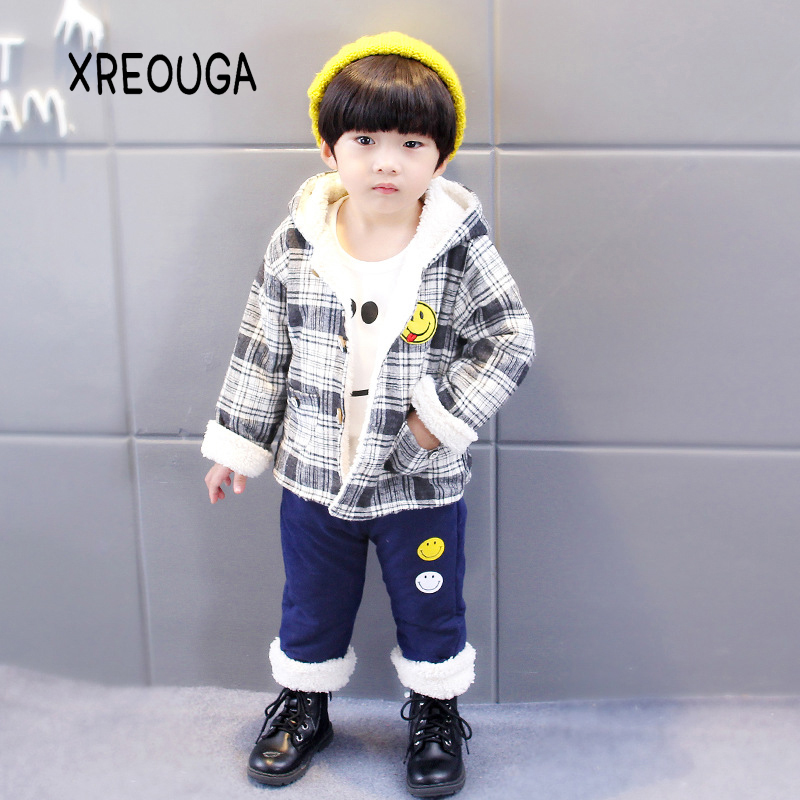 3Pcs Winter Boy Girl Clothing Sets Cartoon Sports Tracksuits Active Children Vest+Long sleeves+Pants Hooded Kids Clothes JH01<br>