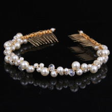 Attractive White pearl crystal bride headdress by hand Woman Hairwear Wedding Jewelry Bride Special Long Butterfly Hair comb(China)
