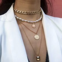 IngeSight.Z Punk Multi Layered Pearl Choker Necklace Collar Statement Virgin Mary Coin Crystal Pendant Necklace Women Jewelry(China)