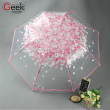 New Fashion Transparent Clear Umbrella Cherry Blossom Mushroom Apollo Princess Women Rain Umbrella Sakura Parasol Cute Clear