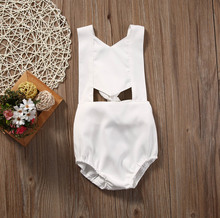 Ice Silk 0-24M Summer Beach Simple Style Newborn Infant Baby Girls Kids Romper White Jumpsuit Backless Sleeveless Clothes