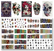 New 12 Sheets/Lot Nail MT13-24 Mix Skull Fashion Nail Art Water Transfer Decal Sticker For Nail Art Tattoo (12 DESIGNS IN 1)(China)