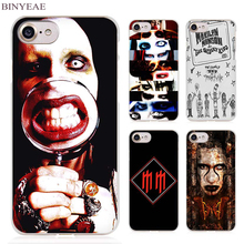 BINYEAE Marilyn Manson Clear Cell Phone Case Cover for Apple iPhone 4 4s 5 5s SE 5c 6 6s 7 7s Plus(China)