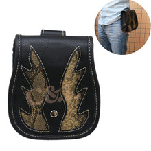 New Black PU Leather Flame Belt Bag Waist Holster Purse Pouch Side Bag Storage Saddle Bag Pocket For Harley Honda Yamaha
