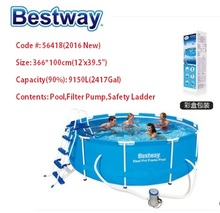 "56418 Bestway 366*100cm 2016 New Steel Pro Frame Pool Set(Pool,Filter,Ladder)/12'x39.5"" outdoor Round Thick Above Ground Pool"