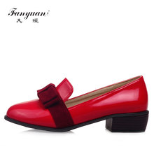 Buy 2017 New Women Solid Sweet Butterfly-knot Shallow Pumps Round Toes Big Size Girls Sweet Spring Med Heels shoes for $19.37 in AliExpress store