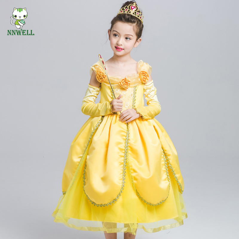 NNW Beauty and The Beast Belle Cosplay Princess Fancy Kids Costumes Grils Yellow Dresses With Sleeve Hight-Quality<br>