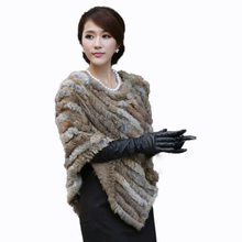 Free Shipping 2017 Women's knitted Rabbit Fur Shawl 100% Hand Woven Cheap Real Fur Cloak Support Retail Or Wholesale Cost Price(China)