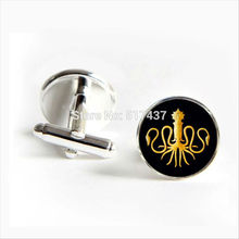 2017 Free Shipping Gold Octopus Cufflinks Marine Organism Cuff links Silver Vintage Cufflinks For Mens