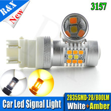 Pair Dual Color T20 7443 28SMD 2835+3030 LED White&Amber Switchback Car Auto Front Turning Lights Signal DRL Error Free Canbus