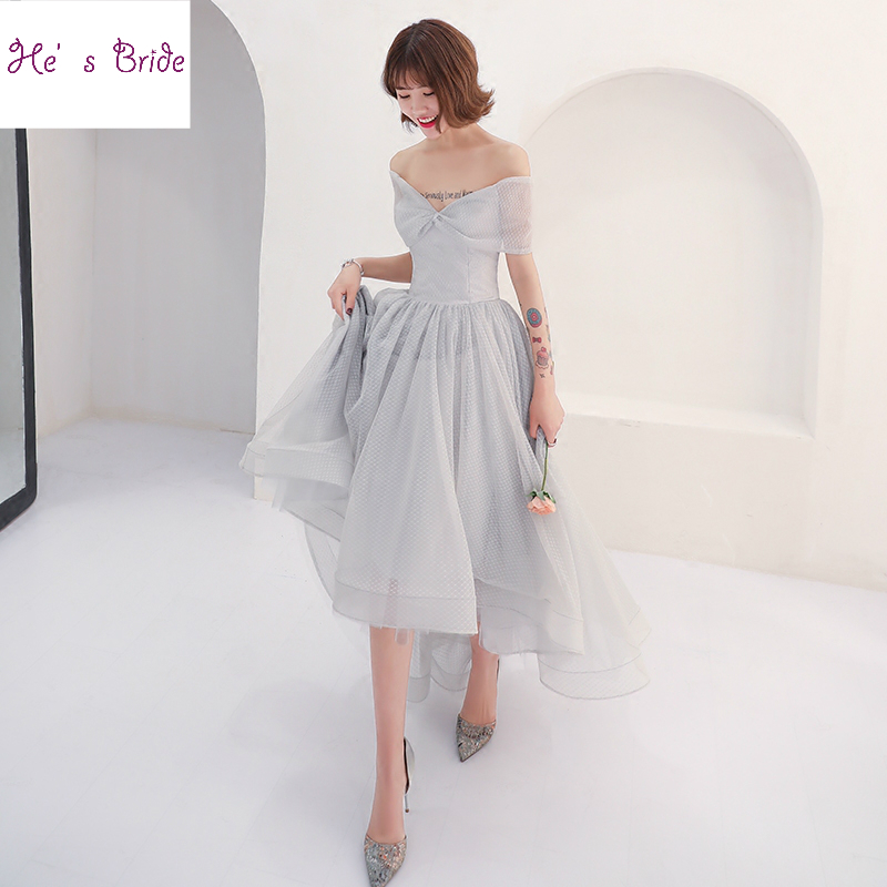 He's Bride New Simple Cocktail Dress The Banquet Elegant Grey Short Front Long Back Asymmetry Evening Party Gown Formal Dresses