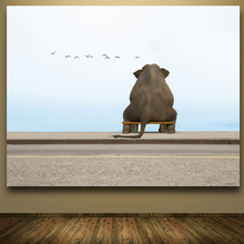 Funny Elephant Sitting On The Bench Near Sea Digital Art Prints Canvas Oil Painting Home Decoration For Living Room Frameless(China)
