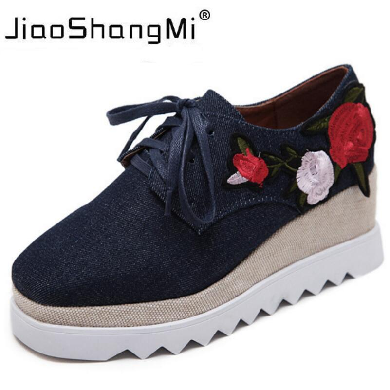 Brand Embroider Flat Platform Shoes Woman Denim Round Toe Lace-Up Platform Oxford Shoes Women Sneakers Autumn Fashion creepers<br>