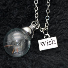 Bovvsky Glass bottle necklace Natural dandelion seed glass necklace Make A Wish Bead Orb Necklace best friends gift necklace