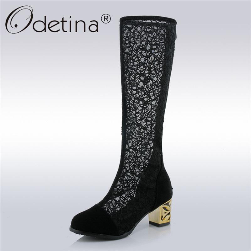 Odetina 2018 New Fashion Women Summer Boots Zippers Fretwork Thick Heels Air Mesh Breathable Round Toe Classics Plus Size 33-44<br>