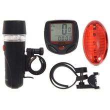 Super Bicycle Accessories Set Cycling Bicycle Speedometer + 5 LED Mountain Road Bike Head Light + Bike Red/Colorful Rear Lights