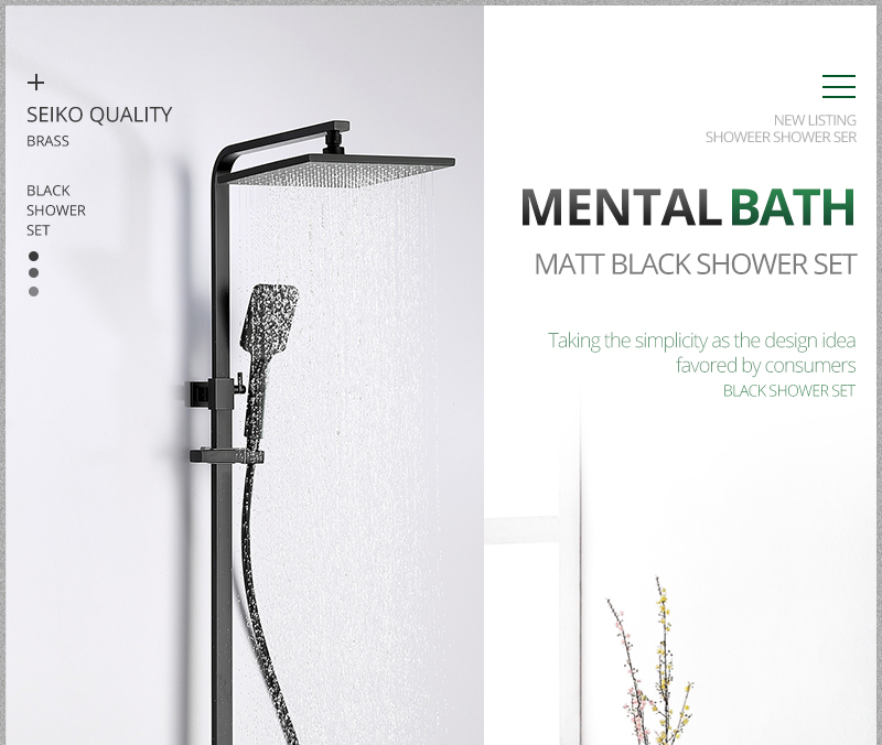 hm vintage Bathroom Black Shower Set Wall Mounted 10 Rainfall Shower Mixer Tap Faucet 3-functions Mixer Valve set System (1)