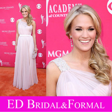 Carrie Underwood Pink Prom Dress 44th Annual Academy Of Country Music Awards Red Carpet  One Shoulder Chiffon Celebrity Gown