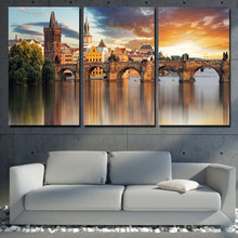 Modern Home Wall Art Decor Frame HD Printed Poster Artworks 3 Pieces Prague Vltava River Stone Bridge Painting Canvas Pictures