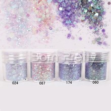 1 Box 10ml Purple Sequins Glitter Powder Super Nail Glitters Dust Tips Shinny Nail Art Decorations Set #23406