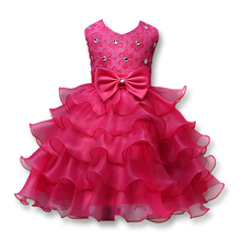 New 2017 Baby Girls Dresses For Girls Wedding Party Girls Clothes Floral Princess Kids Vestidos Birthday Dress Children 3-8Y