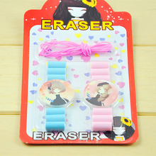 14 pcs/lot school stationery sets novelty bracelet old school watch clock ribbing colored cute rubber pencils eraser to drawing