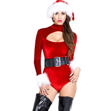 FGirl Christmas Costumes Sexy New Year Adult Halloween Costume One Size Foreplay Velvet Christmas Belle Cutout Bodysuit FG10849(China)