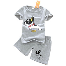2Pcs/set Summer Boys Clothes Short Sleeve T-shirt+shorts O-neck Dog Pattern Boys Clothing Set Gray Children Clothing