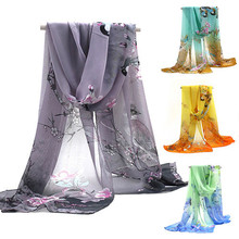 2017 New Women Chiffon Floral Printed Women Scarf Chinese Unique Designer Flowers Birds Casual Silk Scarves Long Wrap Pashmina(China)