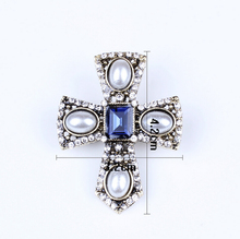 Big Brand Crystal Cross Brooches Female Vintage Charm Brooches For Women Party Alloy Vintage Broches costume jewelry Brooches