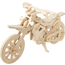 Free Shipping 3d Wood Puzzle Toys Dirt Bike Model Jigsaw DIY Kids Toys Assembled Toys Educational Dirt Bike Toys