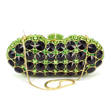 Red Round Clutch Crystal Evening Bags Luxury Women Handbags High Quality Brand Clutch Bag with Red Golden Green Crystal 88409
