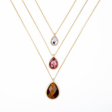 Fashion Brand Long Chain Pendant Layers Delicate Costumes Jewelry 2016 Modern Design 3 Layers Teardrop Necklace