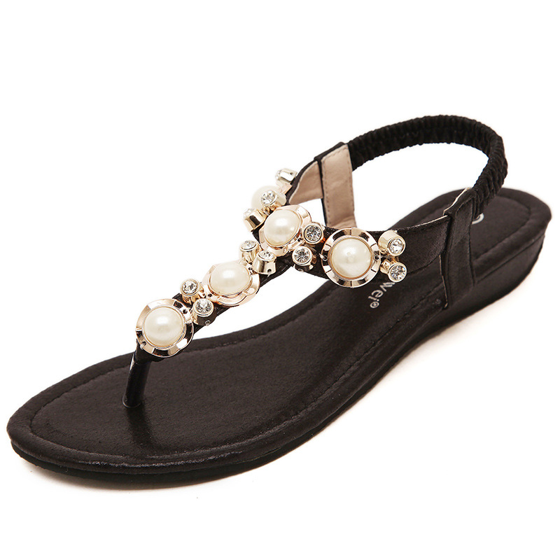 2017 Bohemia Summer Toe Pinch sandals with Beaded Diamond Beach Shoes flat Casual Women shoes sSandalias Mujer<br><br>Aliexpress