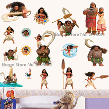 New Cartoon Moana Stickers Vinyl Wall Decals Dreamwork New Movie Decals Stickers for Kids Room Trolls Stickers Home Decor