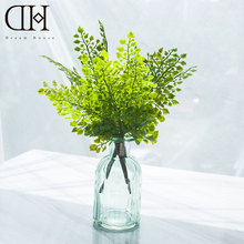 Dream House DH potted artificial ginkgo Leaf home decoration 1pcs glass bottle+ 3pcs ginkgo Leaf greenery(China)