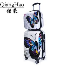 Upgraded version Carry-Ons,Cartoon butterfly picture Luggage,Child Women's Suitcase,PC Travel Bag,Universal wheel Trolley box(China)