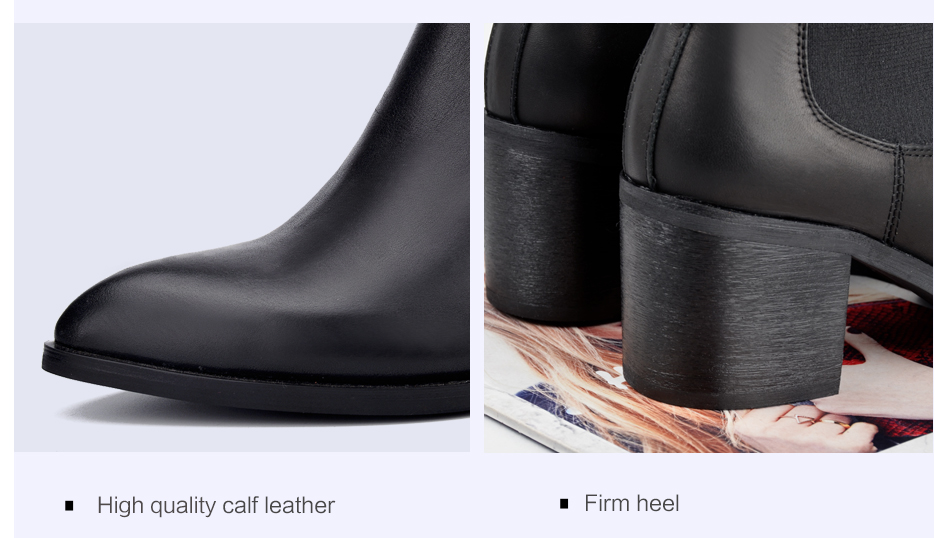 Donna-in 2017 new style genuine leather ankle boots pointed toe thick heel chelsea boots calf leather women boots ladies shoes 96350-17 (17)