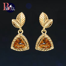 Bwell Natrual Gemstone Citrine Leaf Shape Drop/Dangle Earrings 925 Sterling Silver 14K Yellow Gold Plated For Party BWEI009