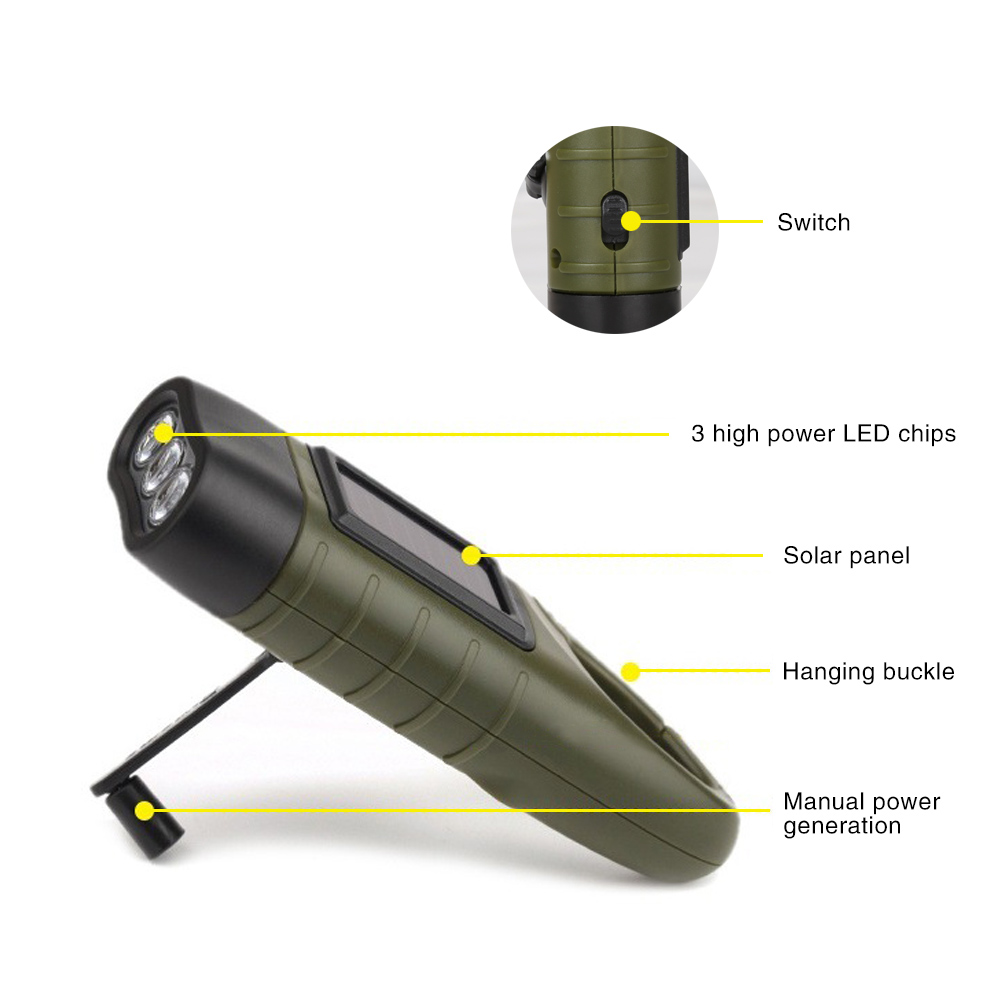 Professional Portable LED Hand Crank Dynamo Solar Power Flashlight Torch for Outdoor Camping Mountaineering Traditional Design (15)